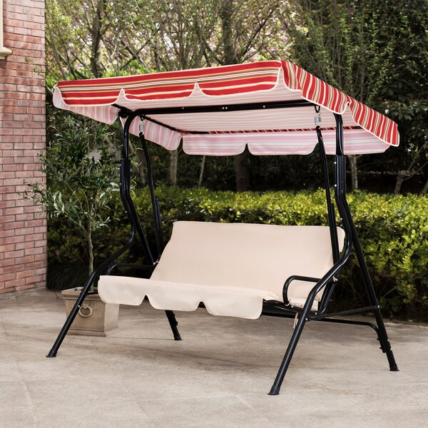 Sunjoy Tan and Red Striped Covered 3-Seat Swing with Tilt Canopy by Latitude Run
