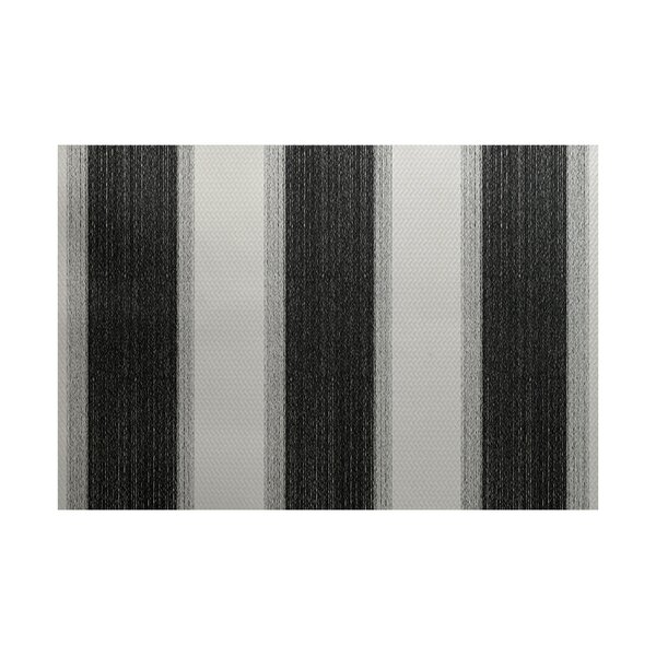 Babineau Stripe Print Black Indoor/Outdoor Area Rug by Orren Ellis