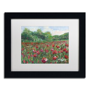 'Poppy Field Wood' by Manor Shadian Framed Painting Print by Trademark Fine Art