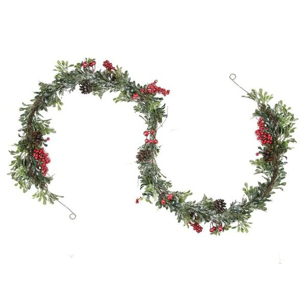 Glittered Artificial Boxwood Pine Cone and Berry Christmas Garland with Unlit by Northlight Seasonal