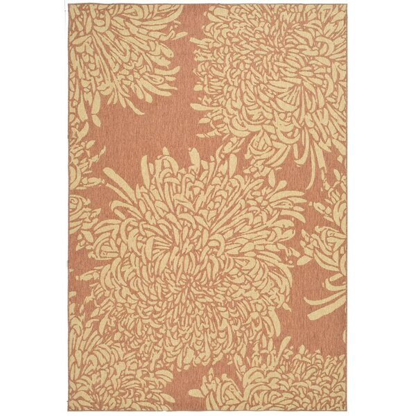 Chrysanthemum Power Loomed Polypropylene Beige/Terracotta Outdoor Area Rug by Martha Stewart Rugs