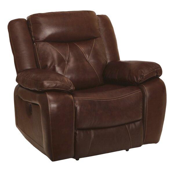 Gascon Leather Recliner Red Barrel Studio W000485098