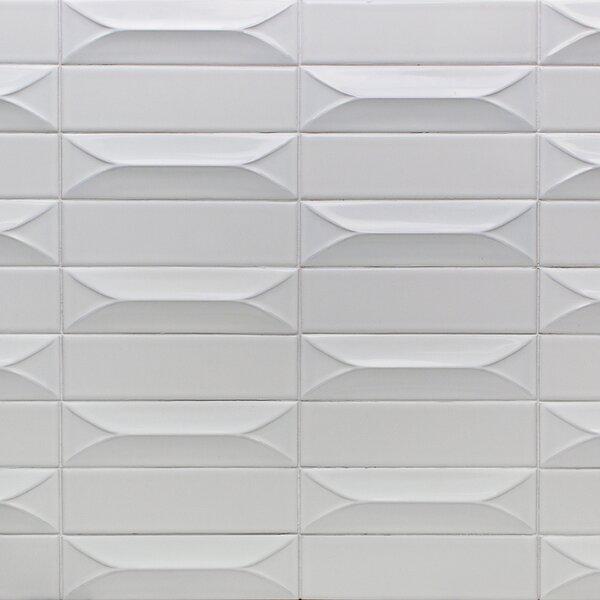 Vintage 3D 3 x 9 Ceramic Subway Tile in Bianco by Splashback Tile