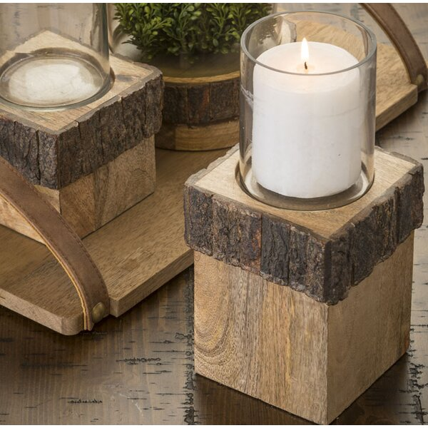 Glass and Wood Votive by Loon Peak