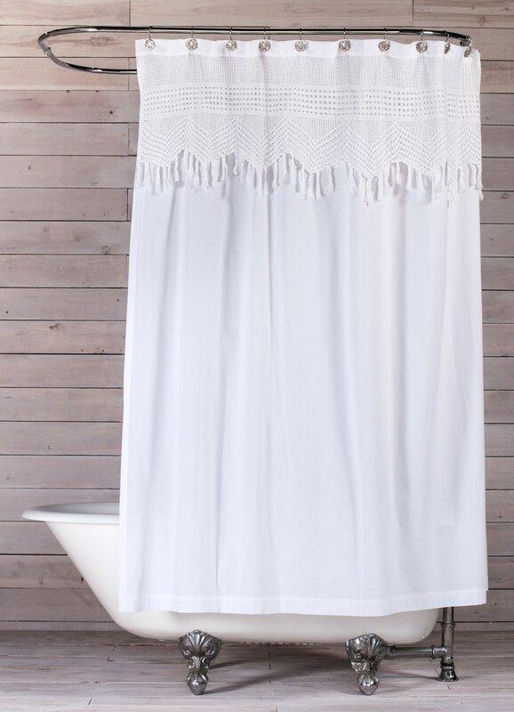 Vintage Crochet Cotton Shower Curtain