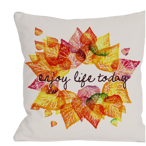 Enjoy Leaves Throw Pillow by One Bella Casa