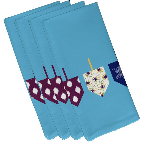 Doodled Dreidels Geometric Print Napkin (Set of 4) by The Holiday Aisle