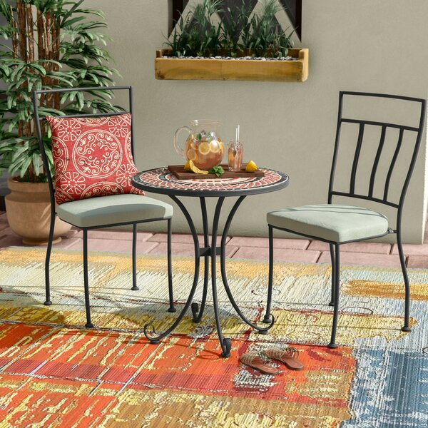 Pavel 3 Piece Bistro Set with Cushion by Bloomsbury Market