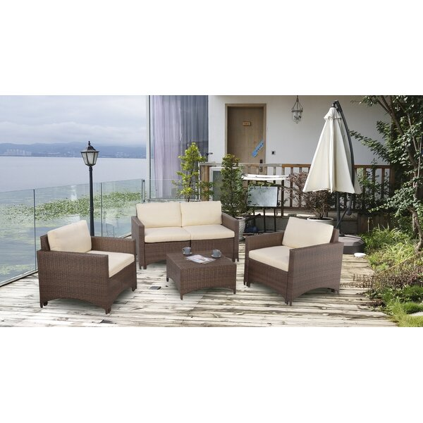 Francolin 4 Piece Sofa Seating Group with Cushions by Ebern Designs