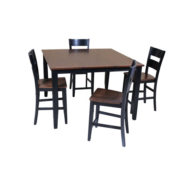 Blessington 5 Piece Counter Height Solid Wood Dining Set by Red Barrel Studio