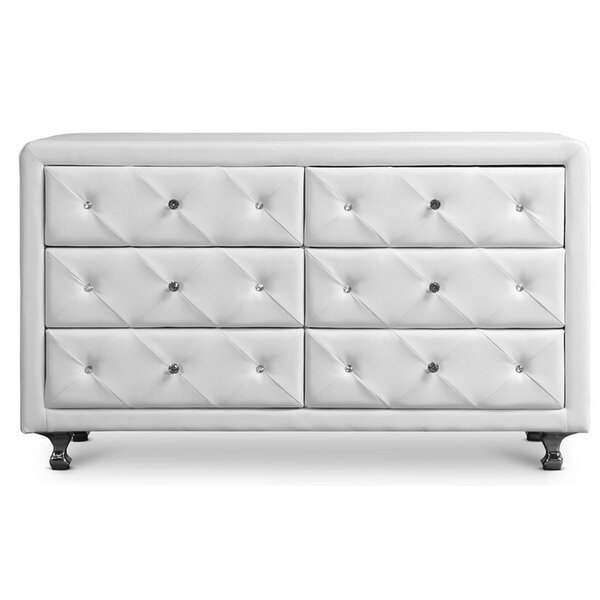 Leighty Upholstered 6 Drawer Double Dresser by Mercer41 Mercer41