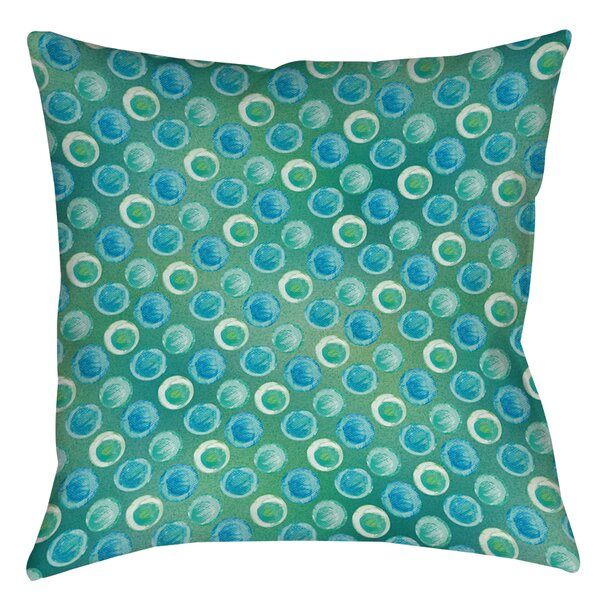Aqua Bloom Dots Printed Throw Pillow by Manual Woodworkers & Weavers