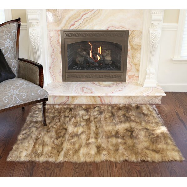 Meiman Luxury Faux Fur Area Rug by Union Rustic