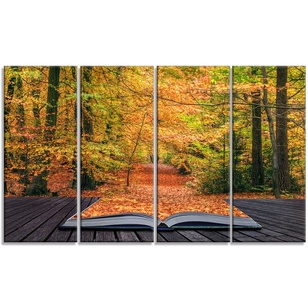 Open Book in Autumn Landscape Contemporary 4 Piece Photographic Print on Wrapped Canvas Set by Design Art