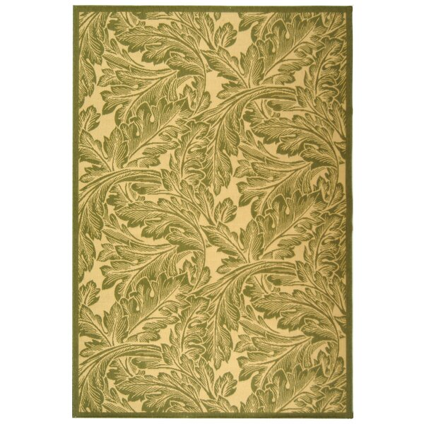 Amaryllis Natural/Olive Outdoor Rug by Bay Isle Home