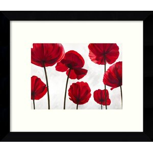 Red Friends Poppies Framed Wall Art by Three Posts