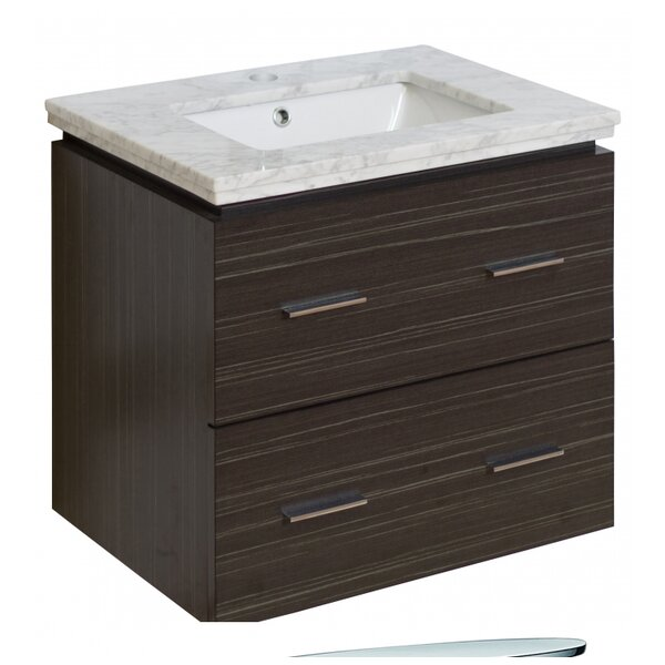 Kyra Modern 24 Dawn Gray Rectangle Single Bathroom Vanity Set by Orren Ellis