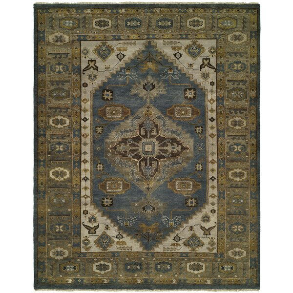 Mccarville Hand Knotted Wool Blue/Olive Area Rug