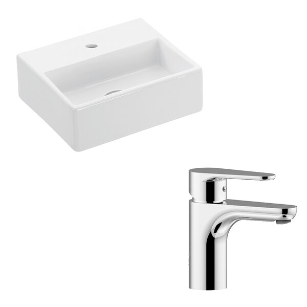 Quattro Ceramic Ceramic Rectangular Vessel Bathroom Sink with Faucet by WS Bath Collections