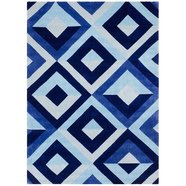 Hand Carved Diamond Blue/White Area Rug by Brady Home
