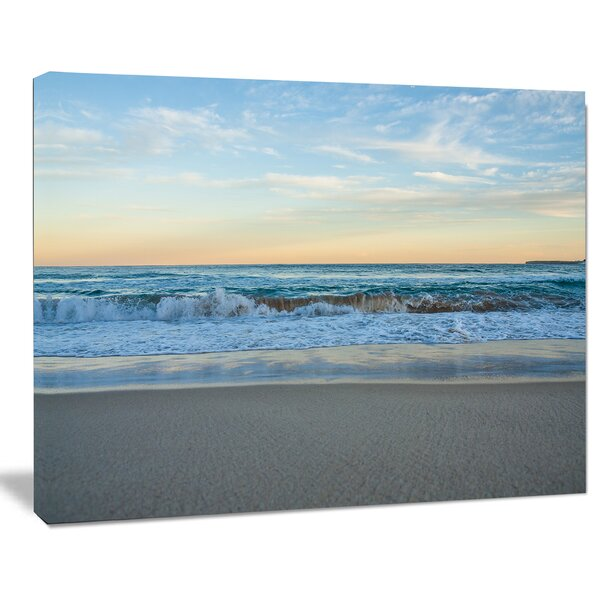 Blue Splashing Scene Beach Large Seashore Photographic Print on Wrapped Canvas by Design Art
