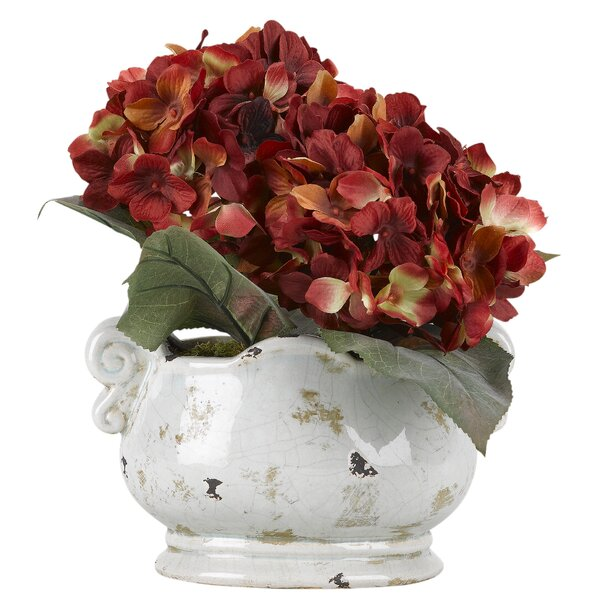 Hydrangea Floral Arrangement in Planter by Winston Porter