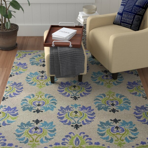 Grand Teton Hand-Hooked Sand/Blue Area Rug by Red Barrel Studio