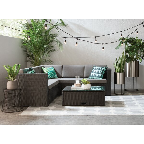 Saltville 4 Piece Rattan Sectional Set With Cushio
