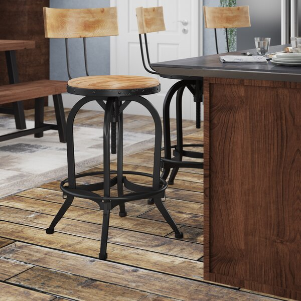 Oria Adjustable Height Swivel Bar Stool by Trent A