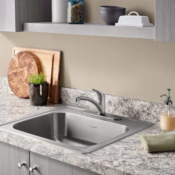 Colony 25 L x 22 W Single Bowl Drop-In Kitchen Sink with Faucet and Drain by American Standard