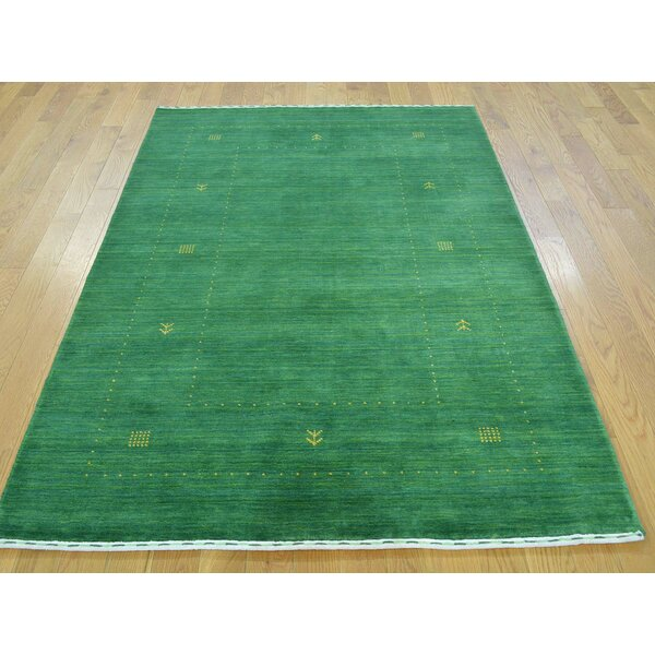 One-of-a-Kind Becker Handwoven Green Wool Area Rug by Isabelline