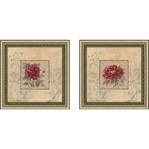 'Timeless Beauty' 2 Piece Framed Acrylic Painting Print Set Under Glass by Andover Mills