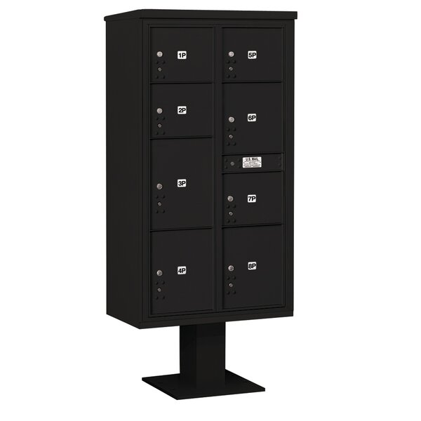 Pedestal Mounted 9 Door Front Load 4C Horizontal Cluster Box Unit  with 8 Parcel Locker by Salsbury Industries