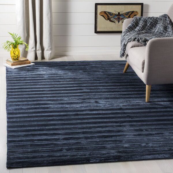 Maxim Navy/Blue Striped Rug by Brayden Studio
