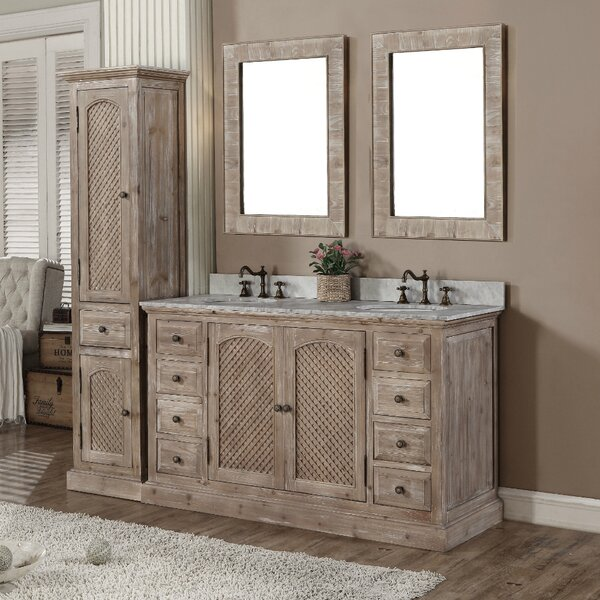 Clemmie 61 Double Bathroom Vanity Set with Linen Tower by Laurel Foundry Modern Farmhouse