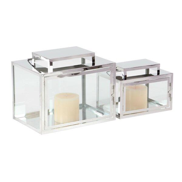 2 Piece Glass Lantern Set by Brayden Studio