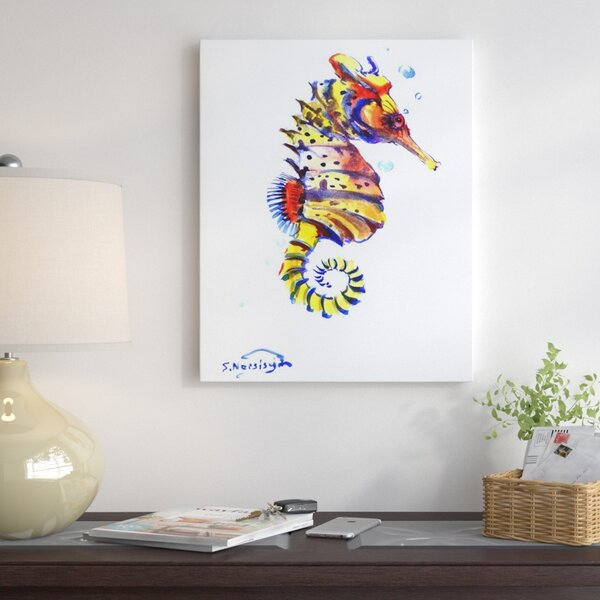 Seahorse Painting on Wrapped Canvas by East Urban Home