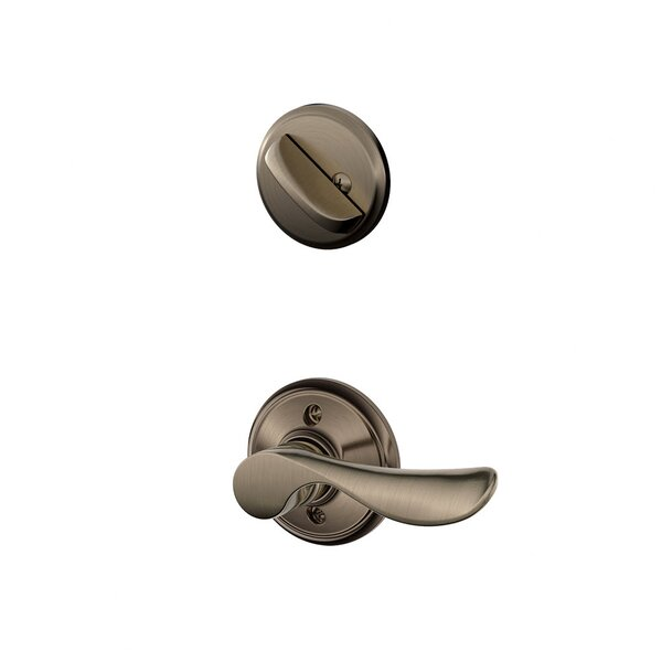 Interior Handleset Champagne Lever and Interior Single Cylinder Deadbolt Thumbturn by Schlage