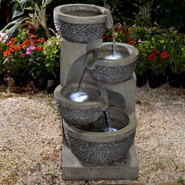 Resin/Fiberglass Multi Tier Bowls Fountain with LED Light by Jeco Inc.
