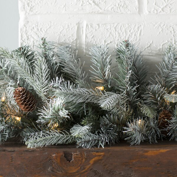 Feel Real Frosted Arctic Spruce Pre-Lit Garland by Lark Manor