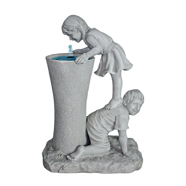 Resin Get a Leg Up Girl and Boy Sculptural Fountain by Wildon Home ®