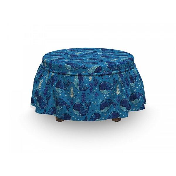 Whale Aquatic Design 2 Piece Box Cushion Ottoman Slipcover Set By East Urban Home