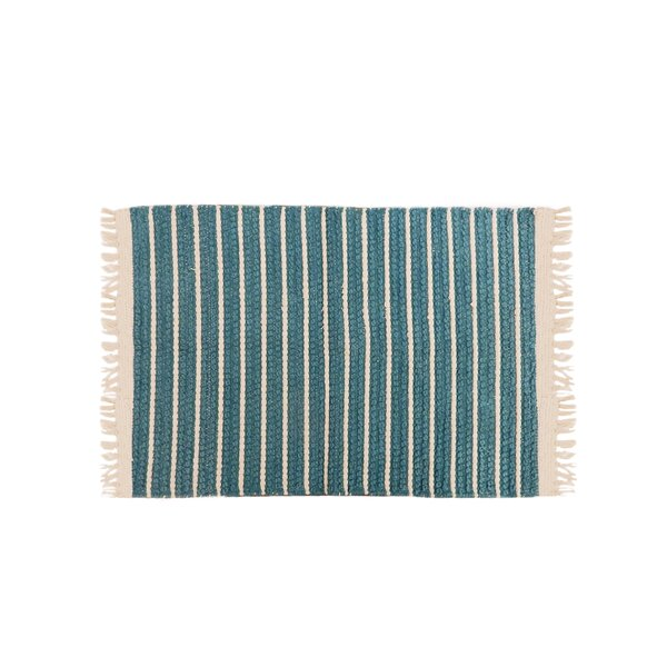 Gilreath Cotton Teal Area Rug by Breakwater Bay