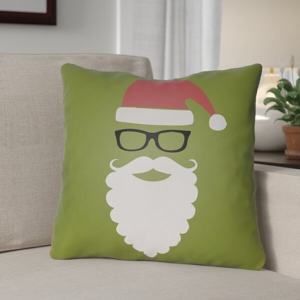 Cool Santa Outdoor Throw Pillow by The Holiday Aisle
