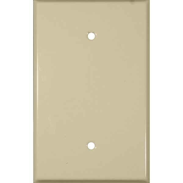 Oversize Blank 1 Gang Stainless Steel Metal Wall Plates in Ivory by Morris Products