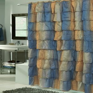 Crushed Voile Ruffled Tier Shower Curtain