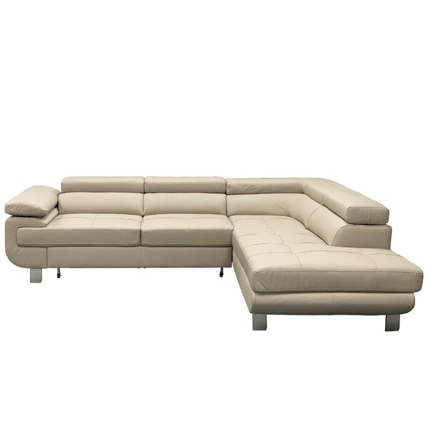 Home & Outdoor Shirly Right Hand Facing Leather Sleeper Sectional