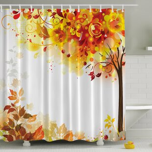 Reviews Fall Leaves Print Shower Curtain ByAmbesonne
