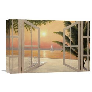 'Beach Windows' by Diane Romanello Painting Print on Wrapped Canvas by Global Gallery