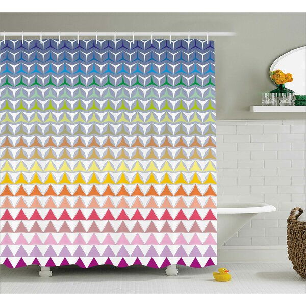 Hope Trippy Geometric Forms Print Shower Curtain by Ebern Designs